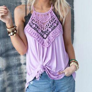 NWT Lavender Crochet Bib Neck Lace Tunic Tank Top